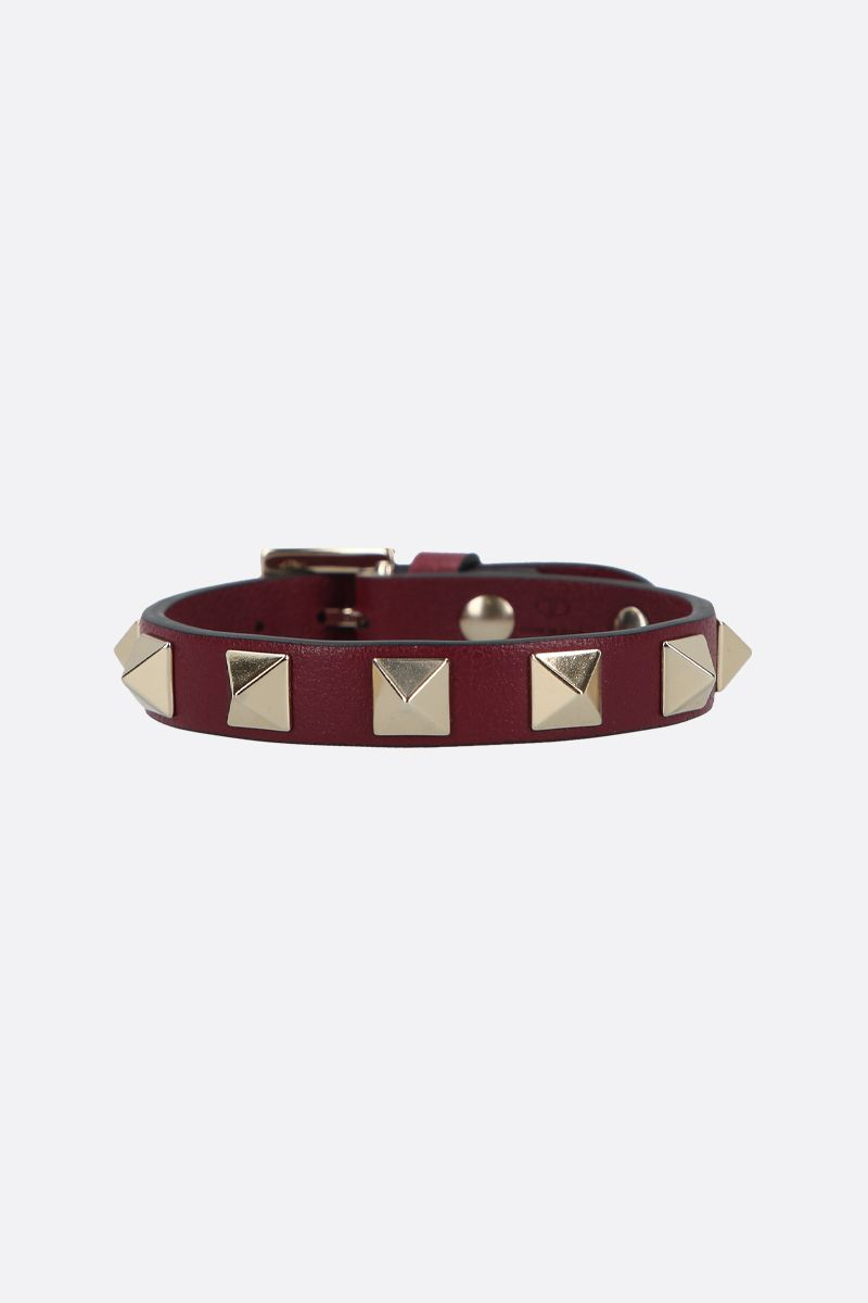 VALENTINO GARAVANI: Rockstud smooth leather bracelet Color Purple_1