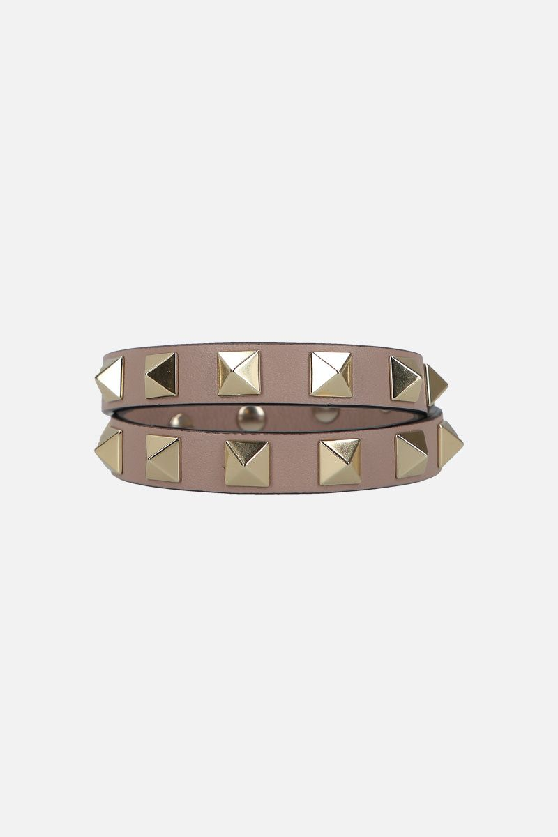VALENTINO GARAVANI: Rockstud smooth leather double-wrap bracelet Color Pink_1