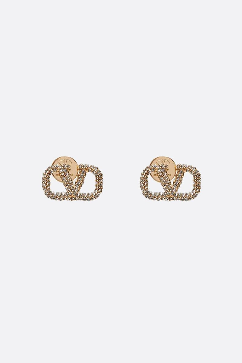 VALENTINO GARAVANI: VLOGO metal and crystals earrings_1