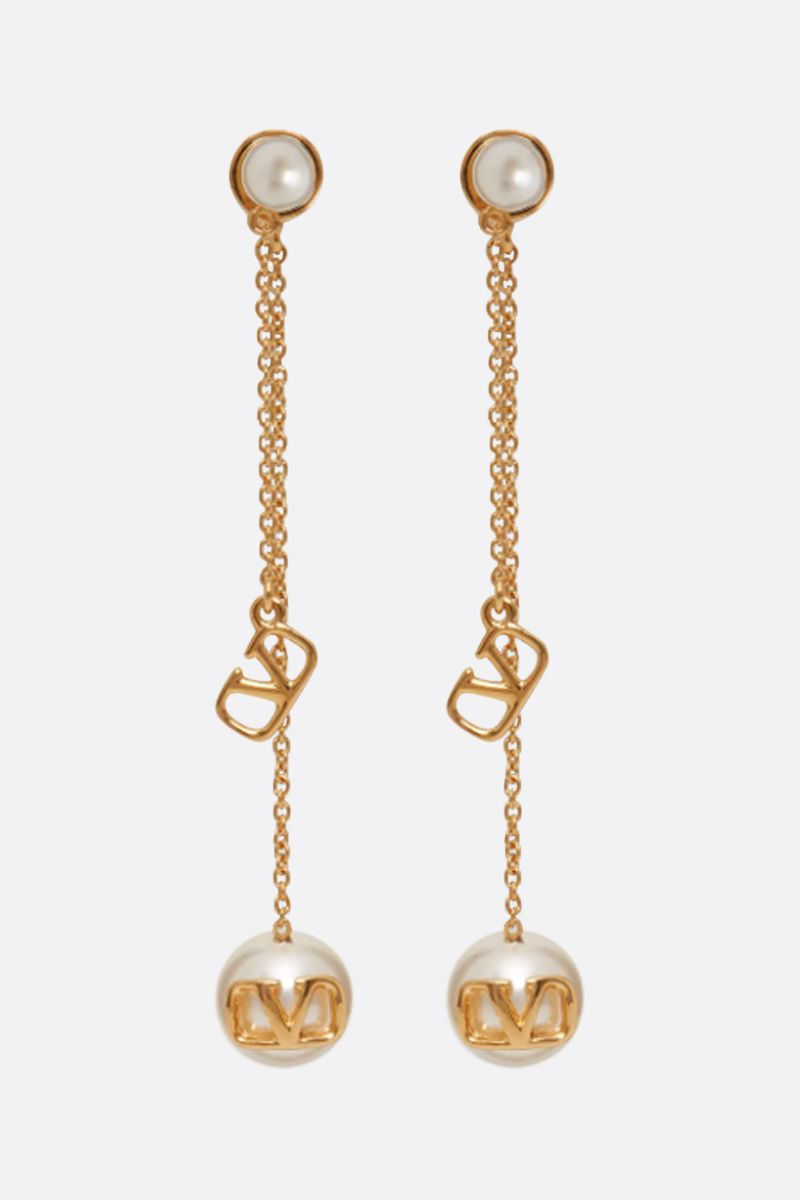 VALENTINO GARAVANI: VLOGO metal and pearls earrings_1
