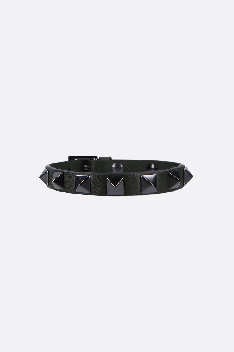 VALENTINO GARAVANI: Rockstud smooth leather bracelet Color Green_1