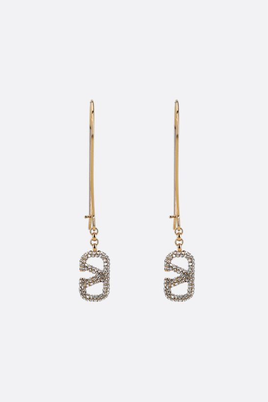 VALENTINO GARAVANI: VLOGO Signature metal and crystal pendant earrings Color Gold_1