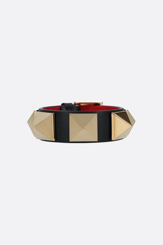 VALENTINO GARAVANI: Roman Stud smooth leather bracelet Color Black_1
