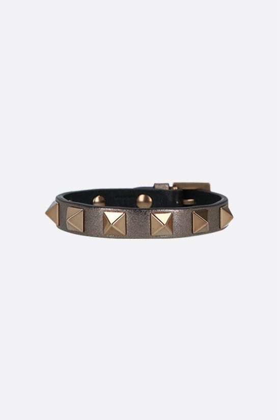 VALENTINO GARAVANI: Rockstud smooth leather bracelet Color Grey_1