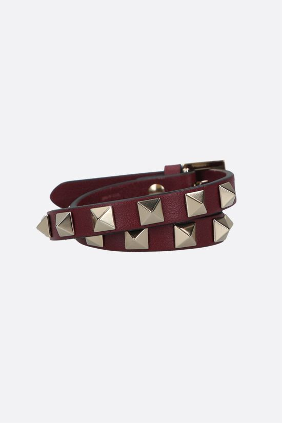 VALENTINO GARAVANI: Rockstud smooth leather double-wrap bracelet Color Purple_1