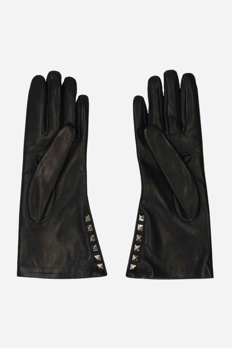VALENTINO GARAVANI: Rockstud soft nappa gloves Color Black_2