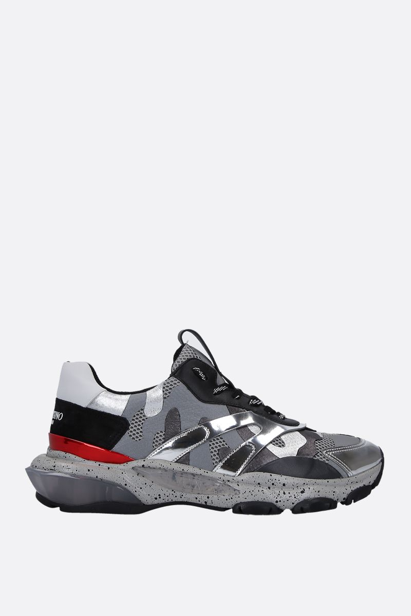 VALENTINO GARAVANI: Bounce Camouflage sneakers in mesh, suede and leather Color White_1