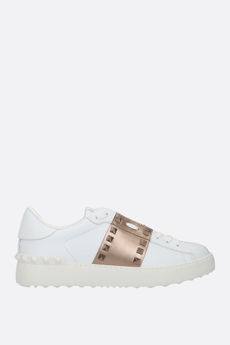 VALENTINO GARAVANI: Rockstud Untitled sneakers in smooth leather_1