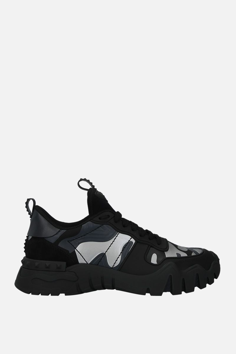VALENTINO GARAVANI: Rockrunner Plus camouflage canvas sneakers Color Black_1