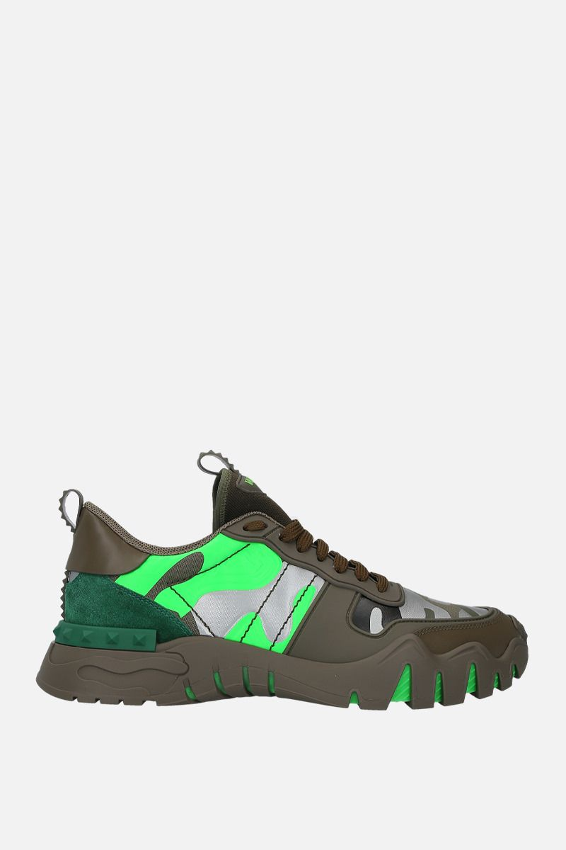 VALENTINO GARAVANI: Rockrunner Plus camouflage canvas sneakers Color Green_1