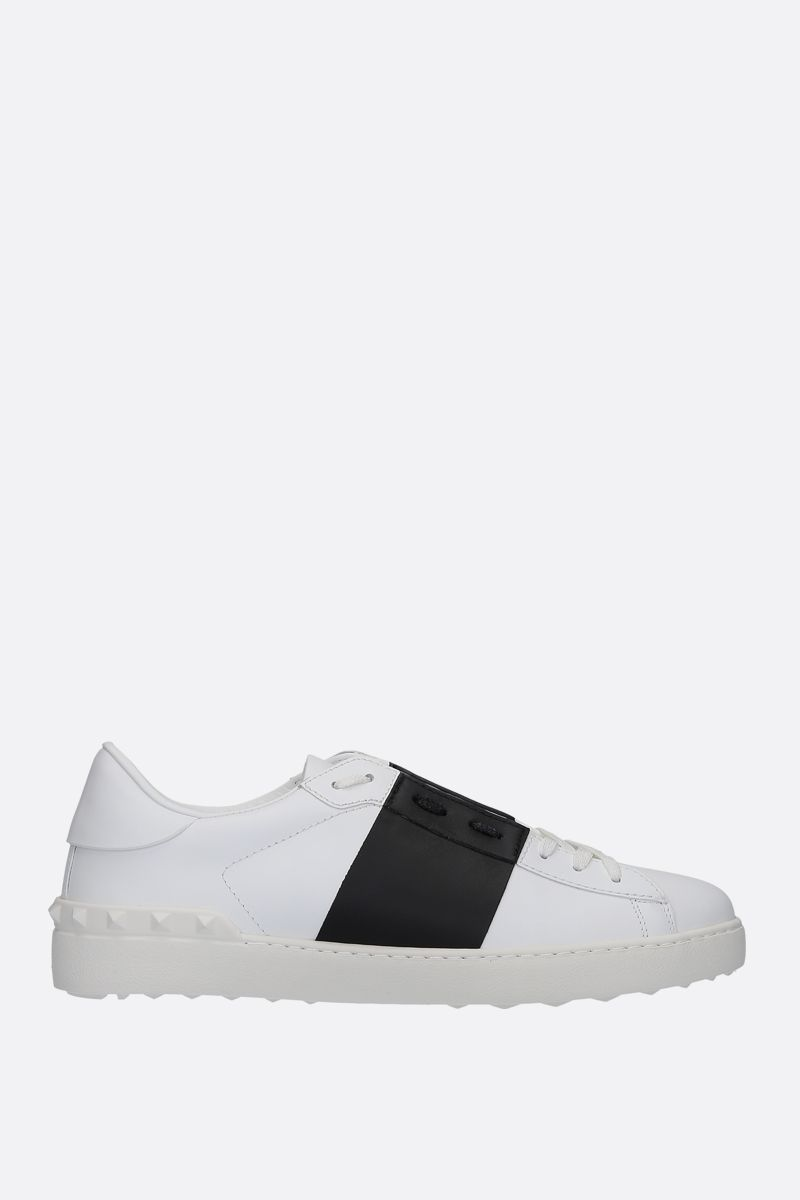 VALENTINO GARAVANI: Open smooth leather sneakers Color White_1