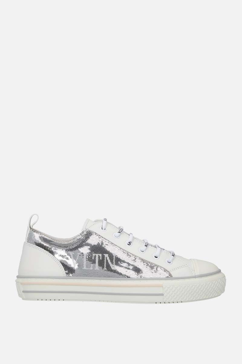 VALENTINO GARAVANI: Giggies VLTN smooth leather and sequins sneakers Color White_1