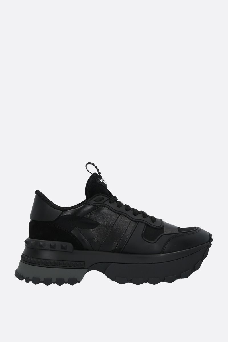 VALENTINO GARAVANI: Rockrunner Up camouflage sneakers in a mix of materials Color Black_1