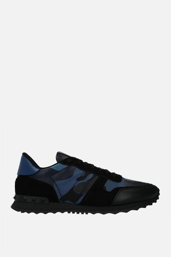 VALENTINO GARAVANI: Rockrunner Camouflage sneakers in a mix of materials Color Blue_1