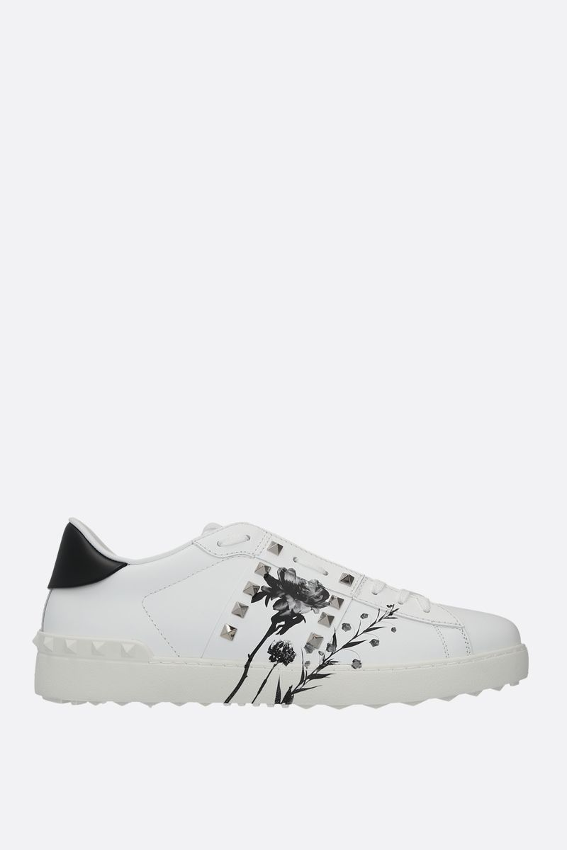 VALENTINO GARAVANI: Rockstud Untitled Flowersity smooth leather sneakers Color Multicolor_1