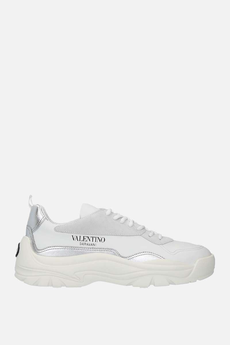 VALENTINO GARAVANI: Gumboy smooth, laminated leather and suede sneakers Color White_1