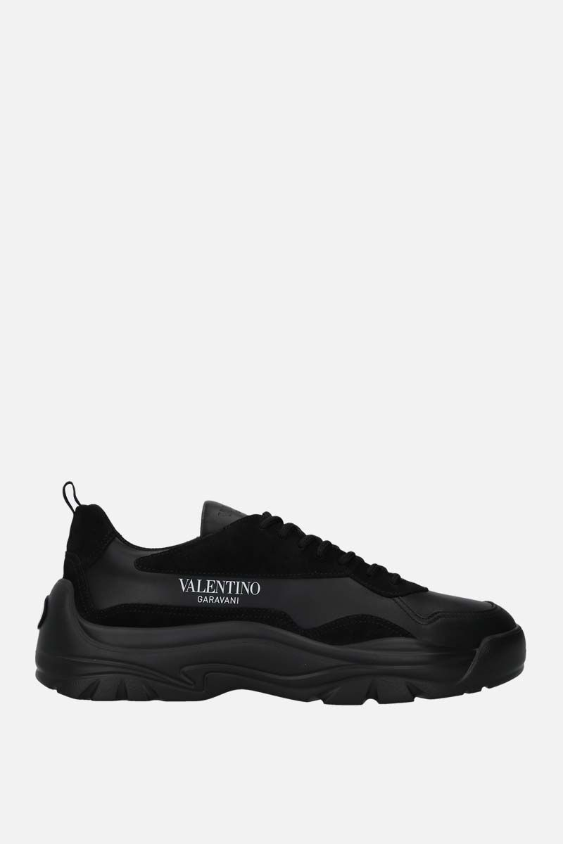 VALENTINO GARAVANI: Gumboy smooth leather and suede sneakers Color Black_1