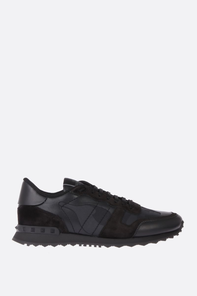 VALENTINO GARAVANI: Rockrunner Noir canvas and nappa sneakers Color Black_1