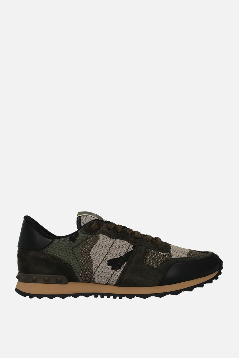 VALENTINO GARAVANI: Rockrunner Camouflage suede and mesh fabric sneakers Color Neutral_1