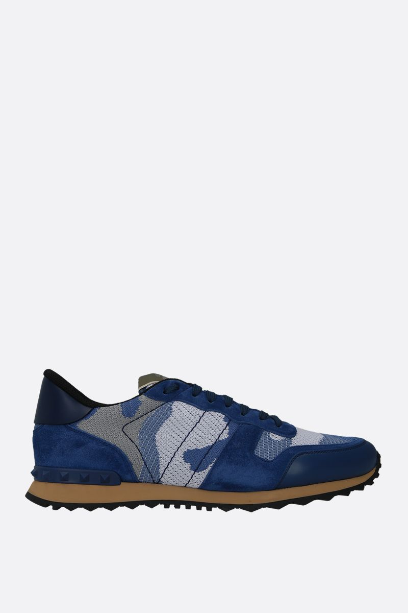 VALENTINO GARAVANI: Rockrunner Camouflage suede and mesh fabric sneakers Color Blue_1