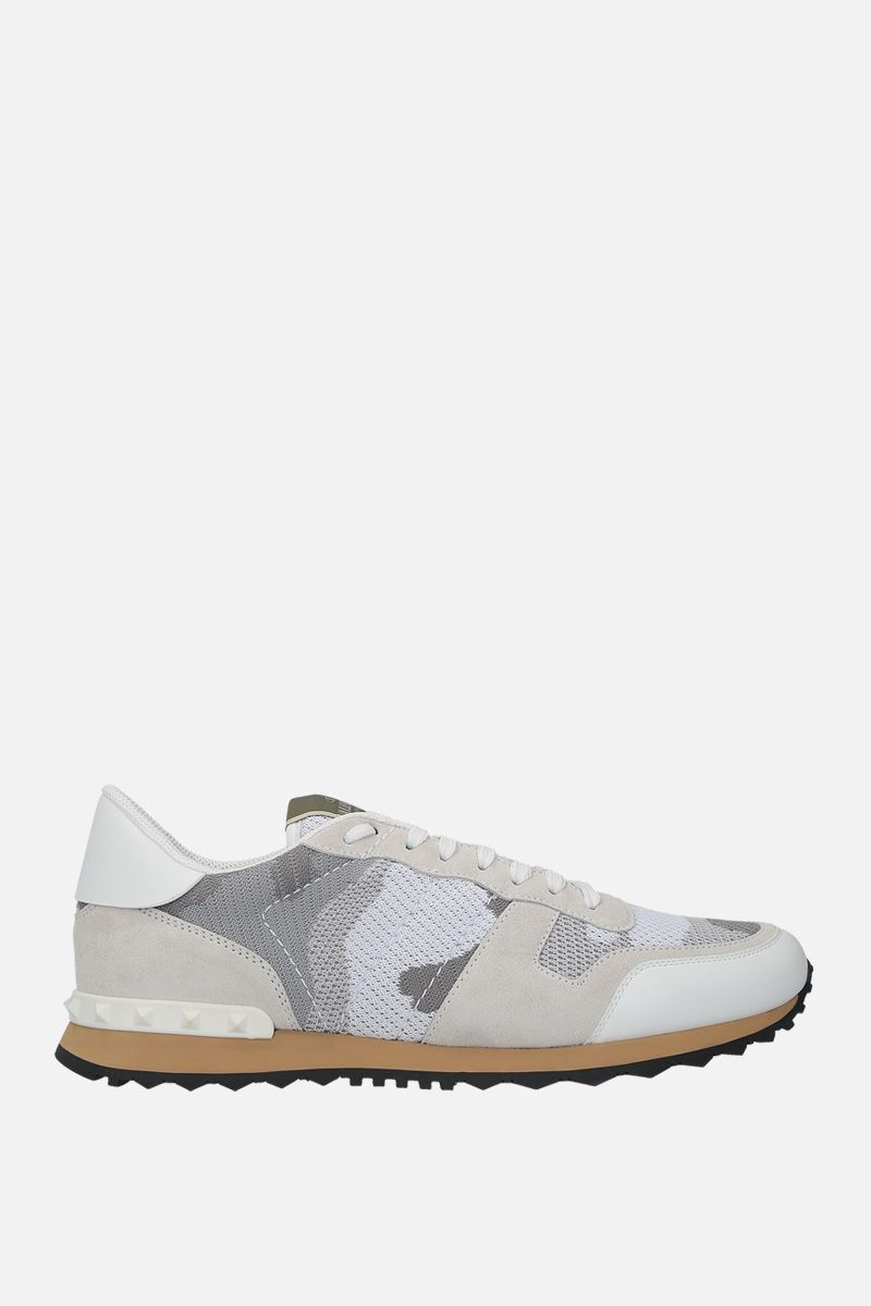 VALENTINO GARAVANI: Rockrunner Camouflage suede and mesh fabric sneakers Color White_1