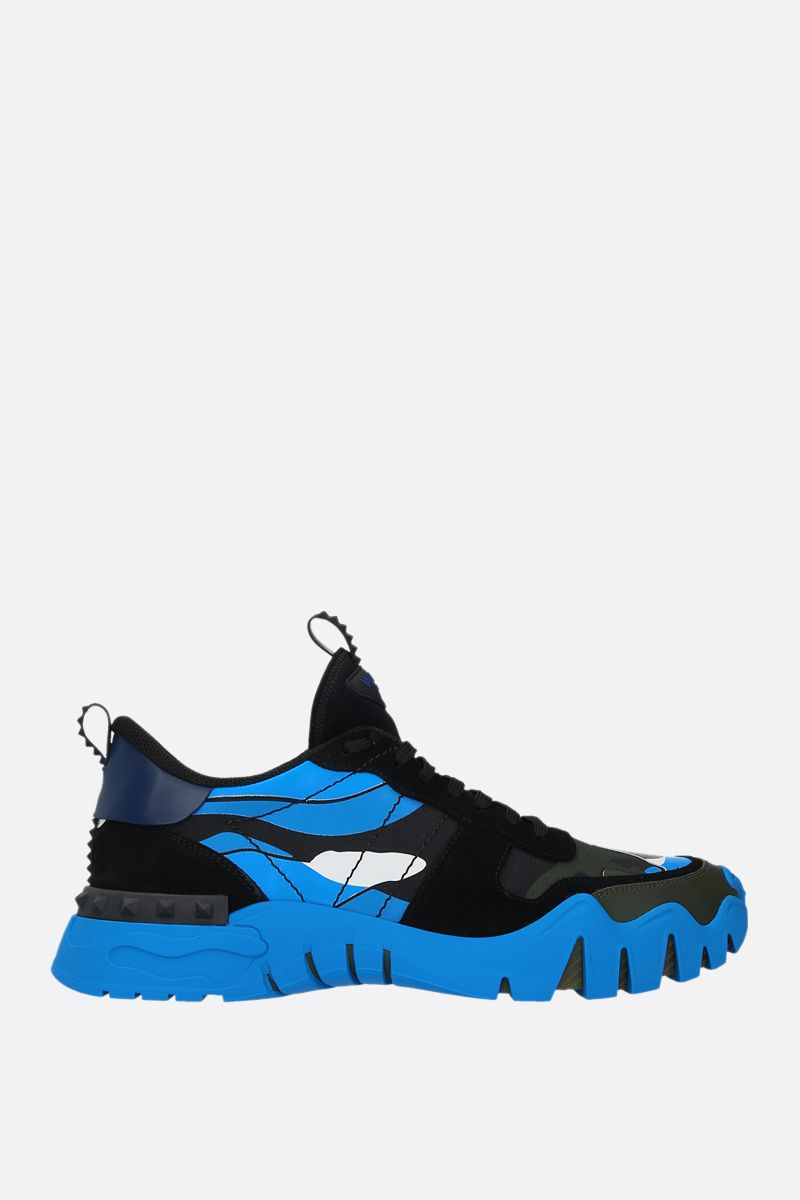 VALENTINO GARAVANI: Rockrunner Plus Camouflage sneakers in a mix of materials Color Black_1