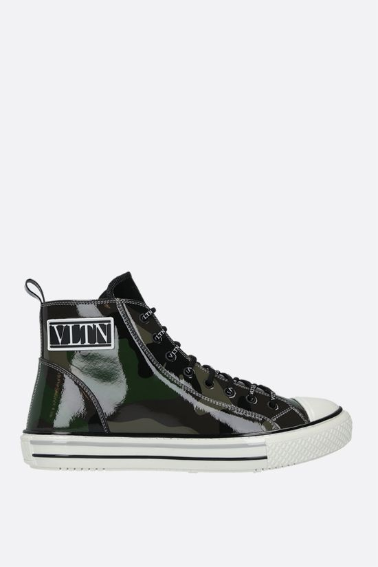 VALENTINO GARAVANI: Giggies VLTN camouflage patent leather sneakers Color Green_1