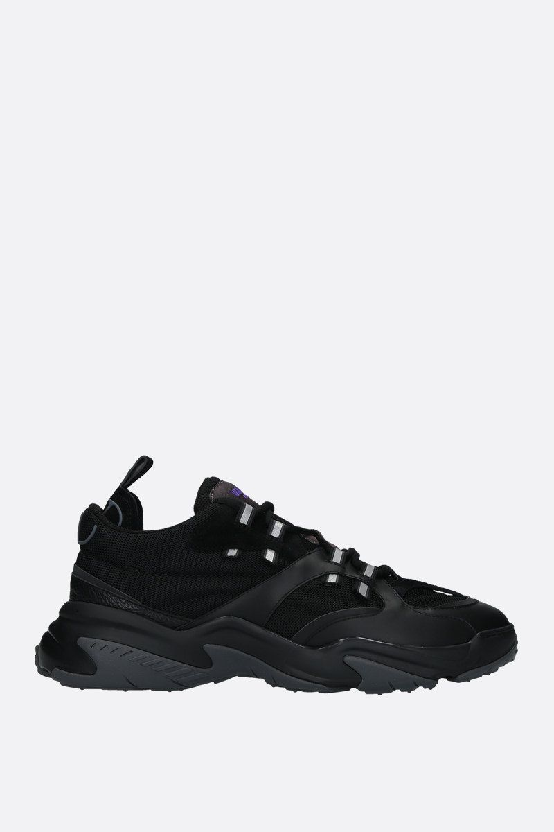 VALENTINO GARAVANI: Afterdusk technical fabric and leather sneakers Color Black_1