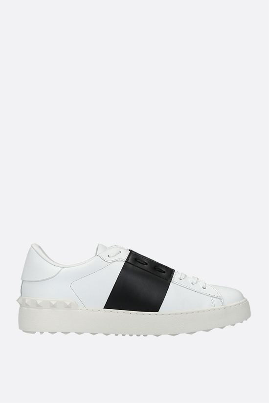 VALENTINO GARAVANI: Open smooth leather sneakers Color Grey_1