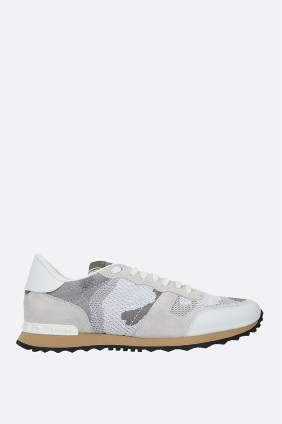 VALENTINO GARAVANI: Rockrunner Camouflage suede and mesh sneakers Color White_1