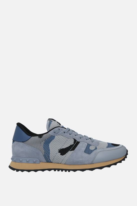 VALENTINO GARAVANI: Rockrunner Camouflage suede and mesh sneakers Color Blue_1