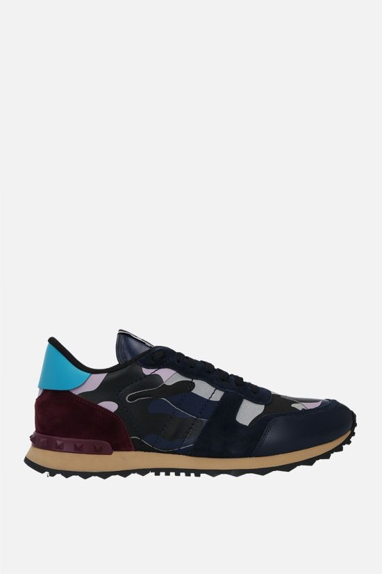 VALENTINO GARAVANI: Rockrunner Camouflage nappa and suede sneakers Color Purple_1