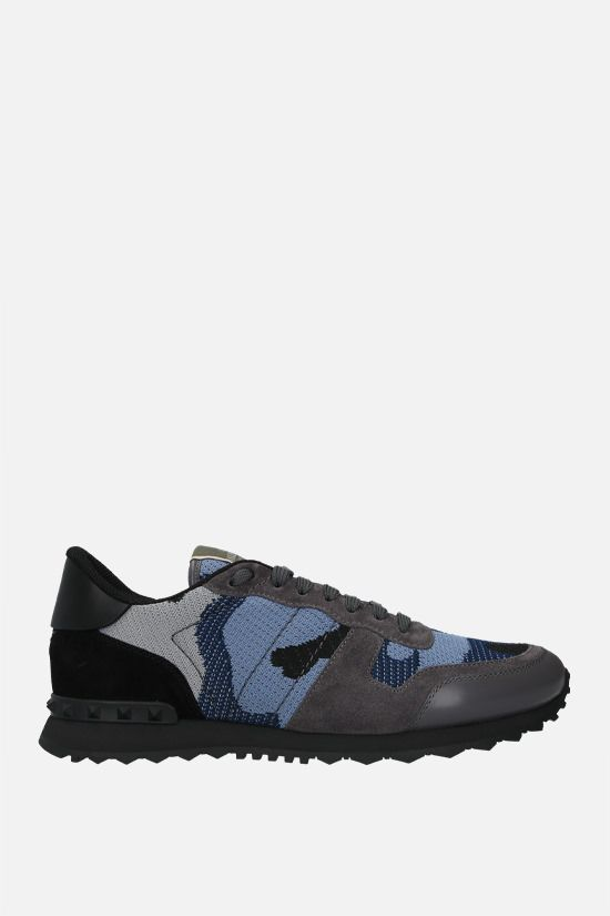 VALENTINO GARAVANI: Rockrunner Camouflage technical knit and suede sneakers Color Black_1