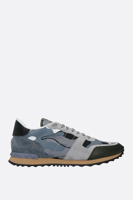 VALENTINO GARAVANI: Rockrunner Camouflage nappa and suede sneakers Color Grey_1