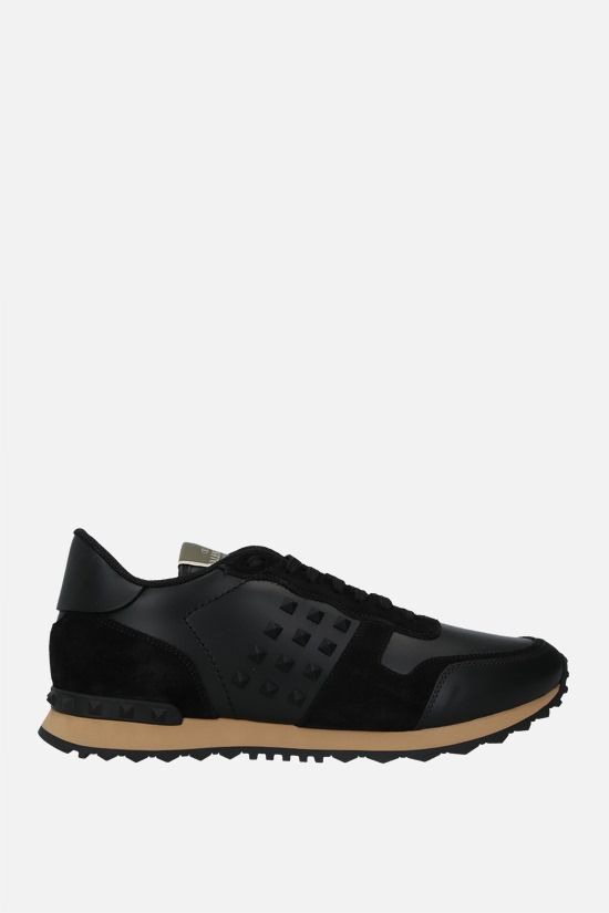 VALENTINO GARAVANI: Rockrunner nappa and suede sneakers Color Black_1