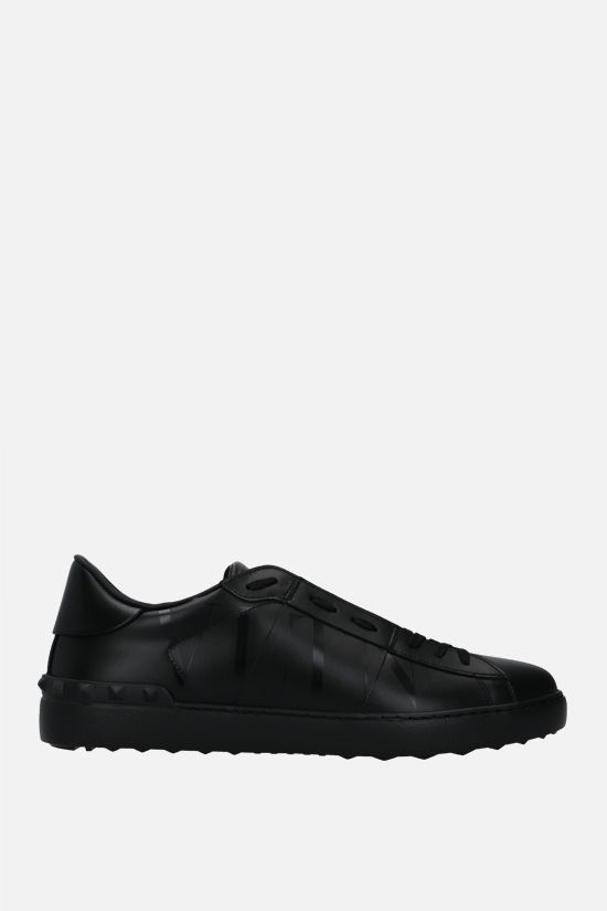 VALENTINO GARAVANI: Open VLTN smooth leather sneakers Color Black_1