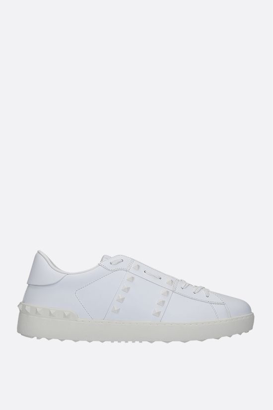 VALENTINO GARAVANI: Rockstud Untitled smooth leather sneakers Color White_1