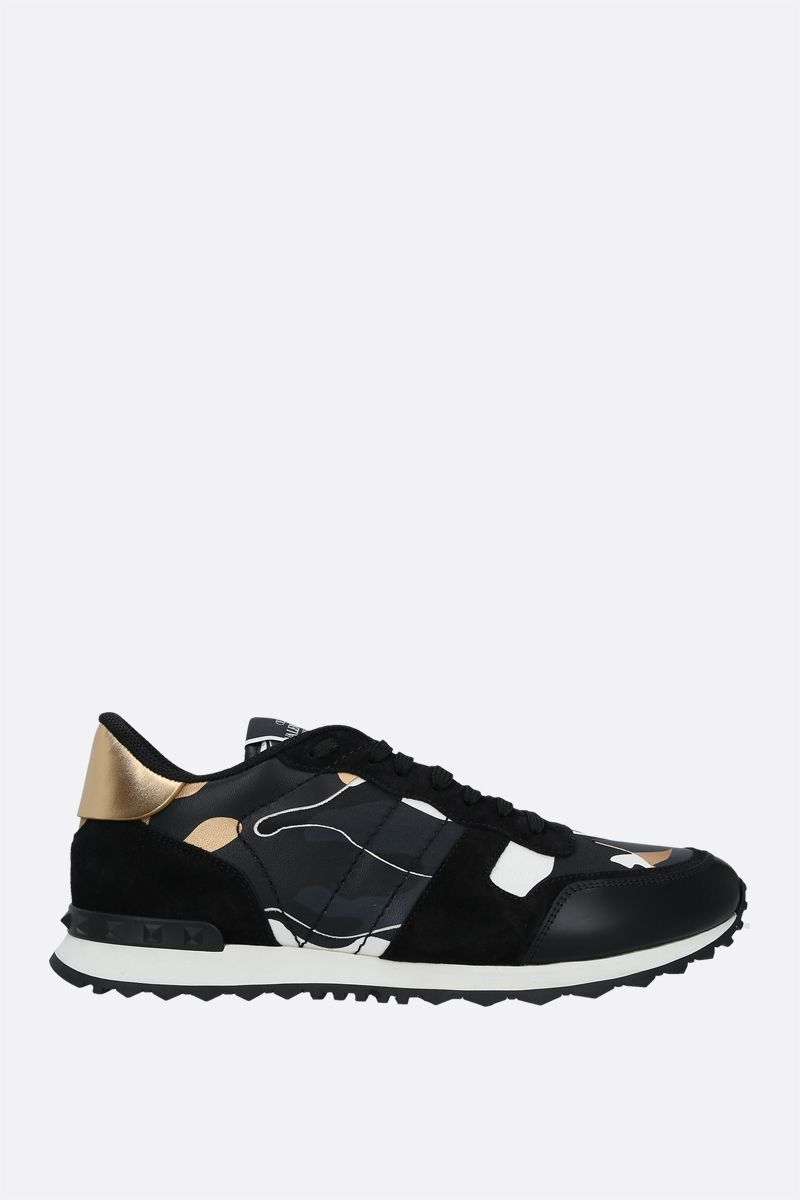 VALENTINO GARAVANI: Rockrunner Camouflage suede and smooth leather sneakers Color Gold_1