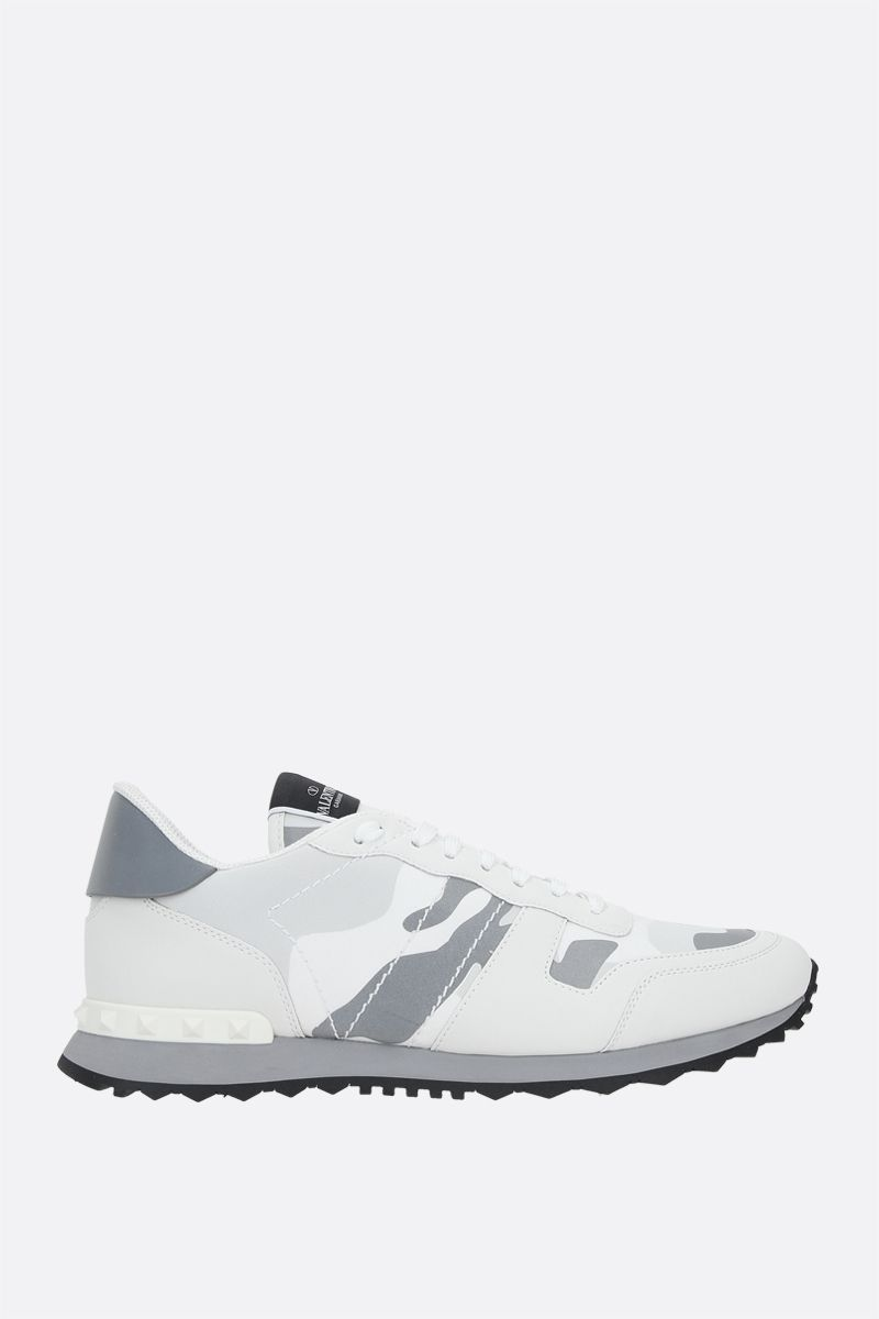 VALENTINO GARAVANI: Rockrunner Camouflage suede and smooth leather sneakers Color White_1