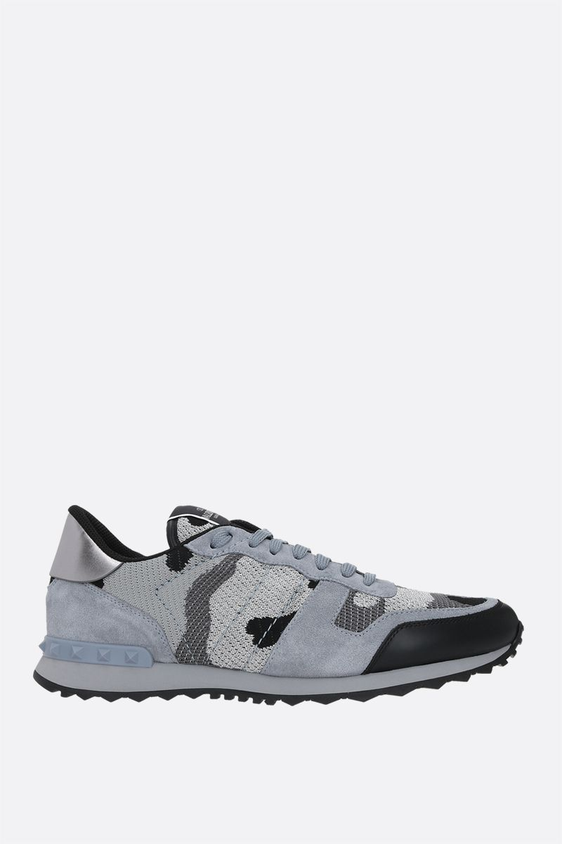 VALENTINO GARAVANI: Rockrunner Camouflage suede and lurex knit sneakers Color Grey_1
