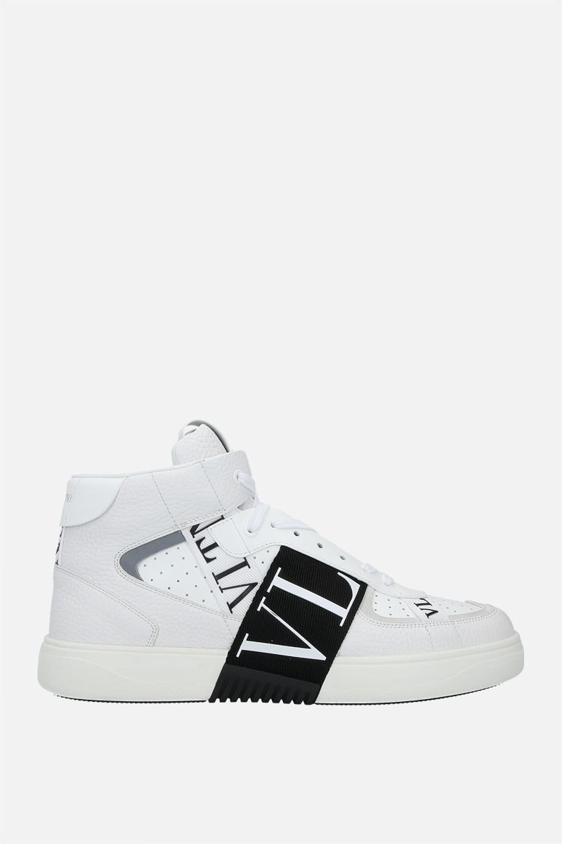 VALENTINO GARAVANI: VL7N smooth and grainy leather mid-top sneakers Color White_1