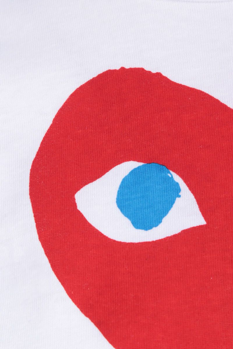COMME des GARCONS PLAY: t-shirt in cotone stampa logo Colore White_3