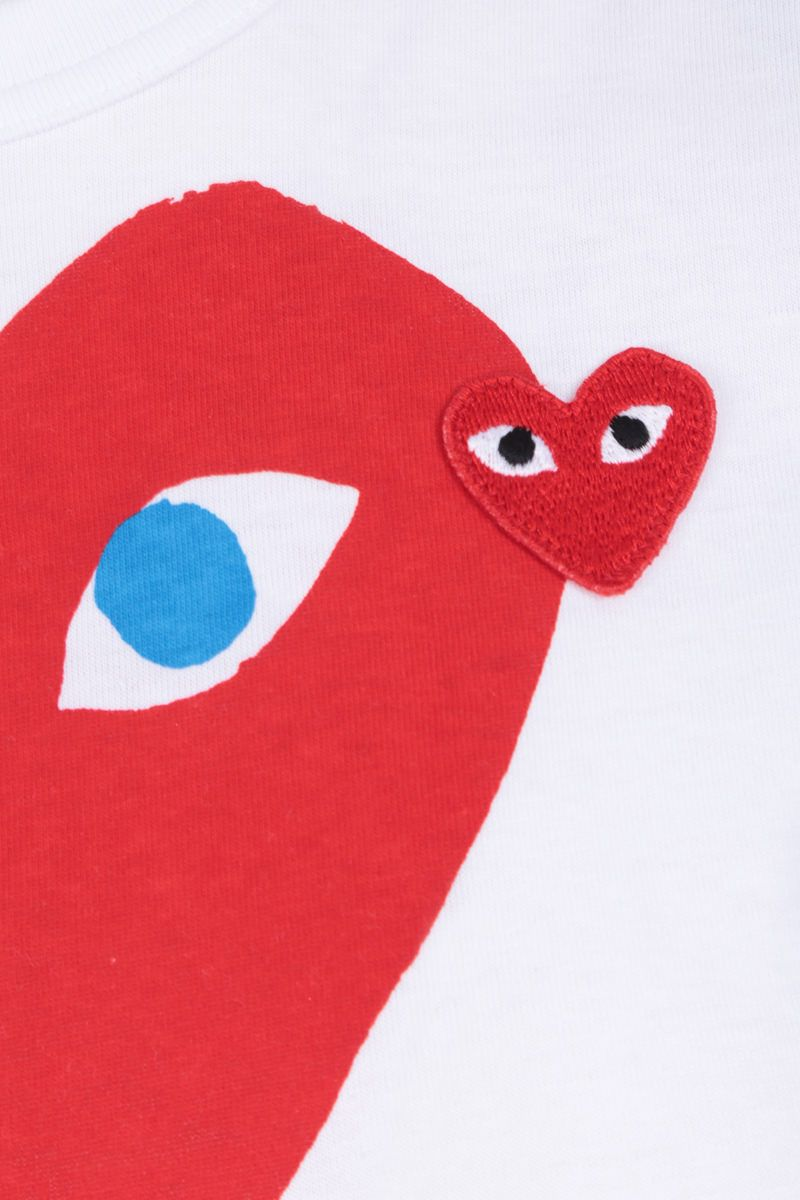 COMME des GARCONS PLAY: t-shirt in cotone stampa logo Colore White_4