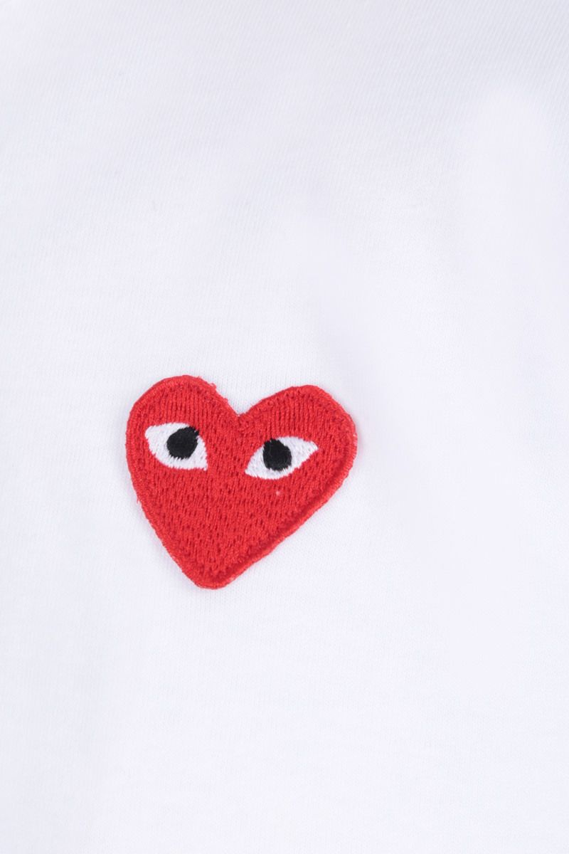 COMME des GARCONS PLAY: t-shirt in cotone patch logo Colore White_3