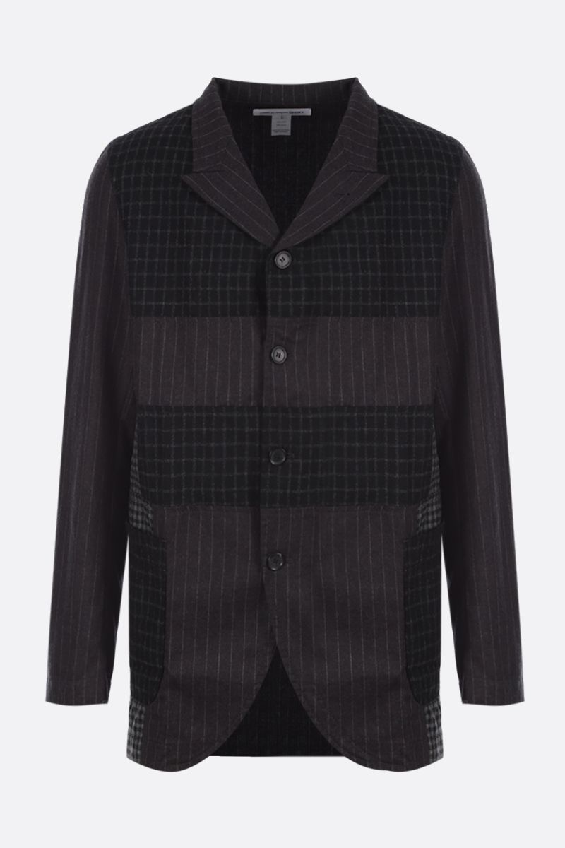 COMME des GARCONS SHIRT: single-breasted wool patchwork jacket Color Grey_1