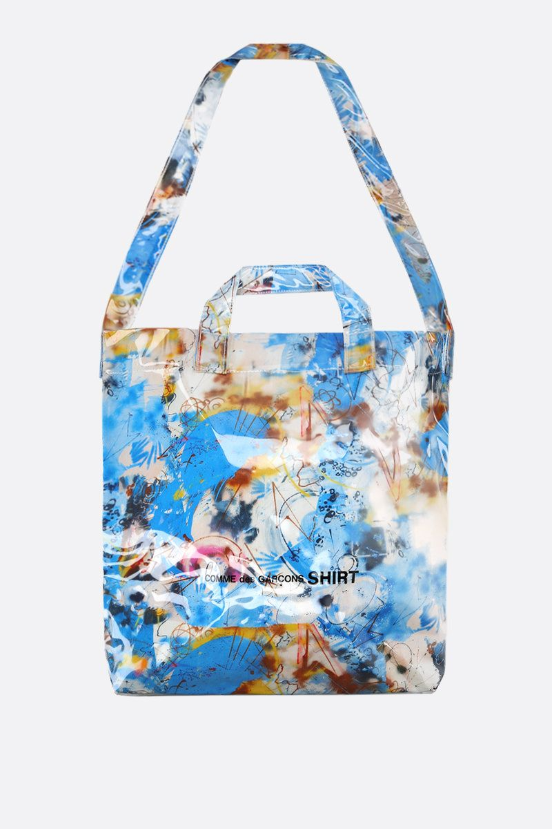 COMME des GARCONS SHIRT: Futura print vinyl tote bag Color Blue_1
