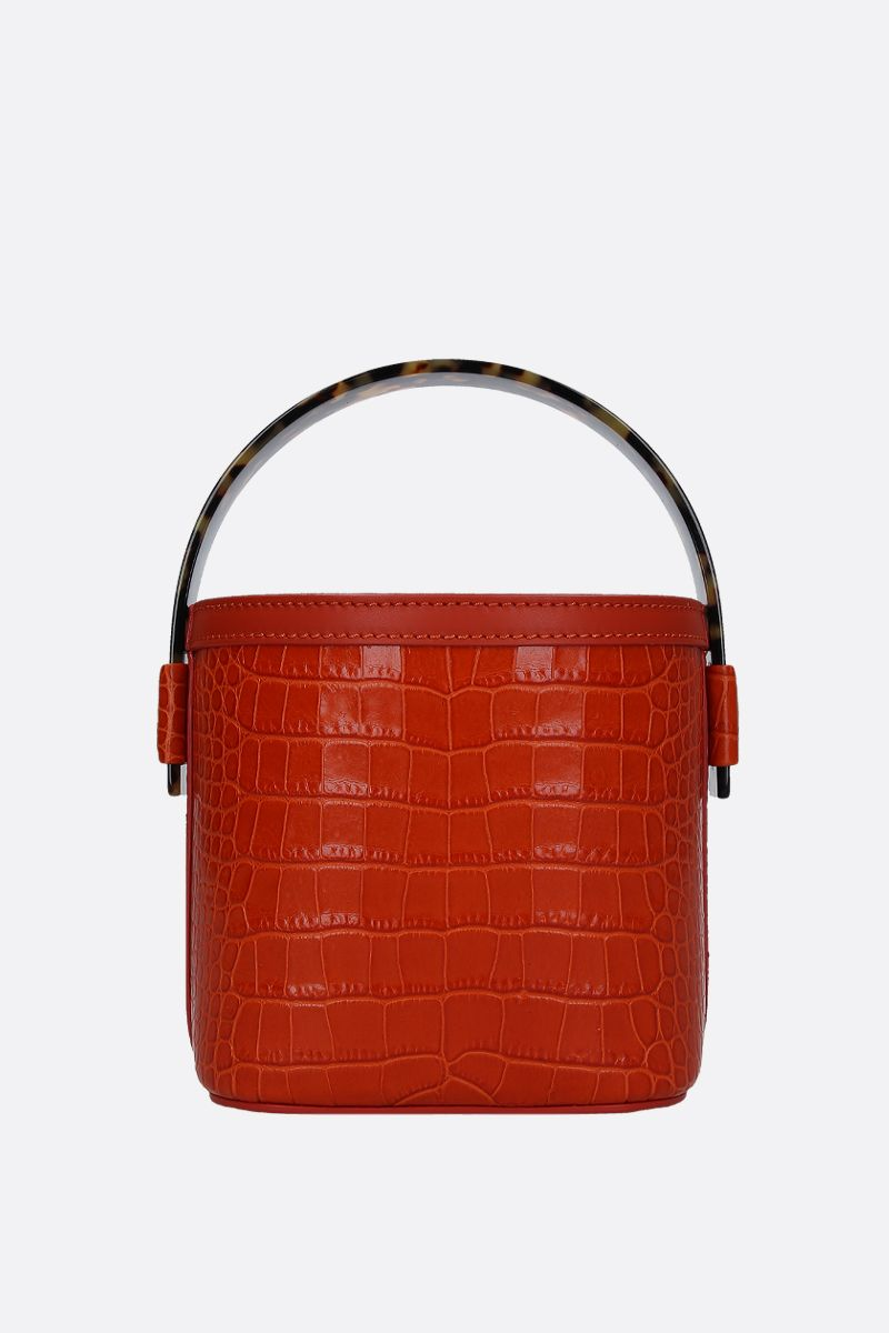 NICO GIANI: Adenia mini bucket bag in crocodile embossed leather Color Orange_1