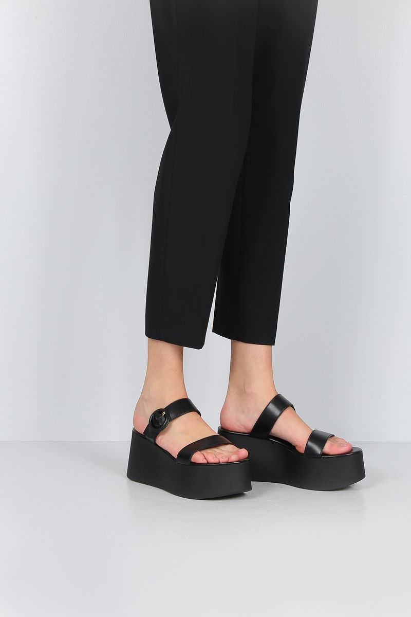 GIANVITO ROSSI: smooth leather flatform sandals Color Black_2