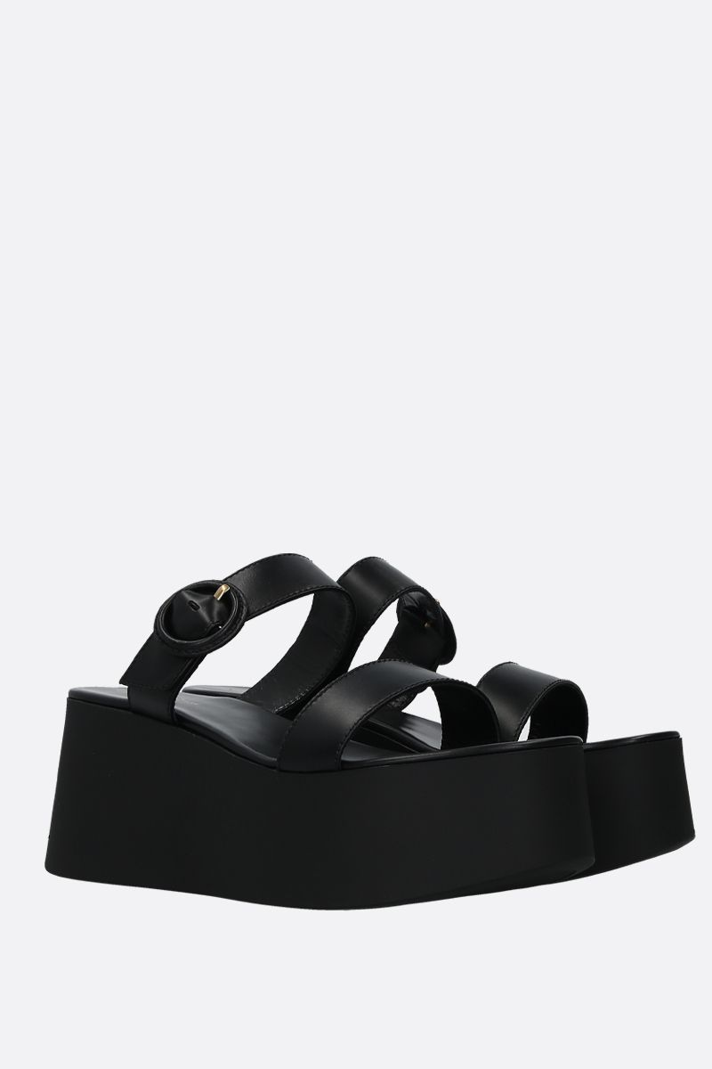 GIANVITO ROSSI: smooth leather flatform sandals Color Black_3