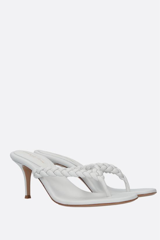 GIANVITO ROSSI: Tropea woven nappa thong sandals Color White_2